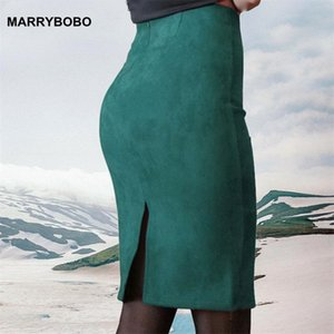 Skirts 2021 Vintage Suede Bodycon Skirt Women High Waist Office Pencil Autumn Winter Solid Thick Stretchy Slit