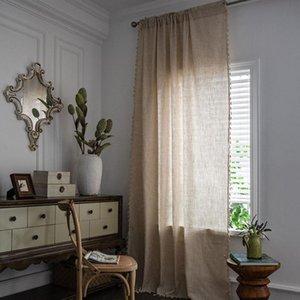 Curtain & Drapes Soild Color Polyester Cotton Semi-shading Bay Window With Tassel Bohemia Bedroom El Curtains Home Decor Rod Pocket