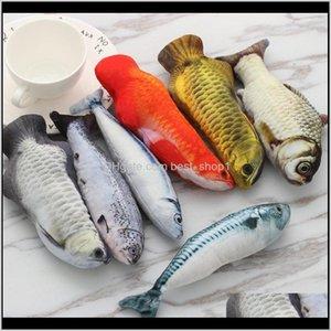 Поставки Главная Сад Drop Доставка 2021 Искусственная рыба Плюшевые Плюшевые Pet Щенок Собака Спящая Подушка Весело Игрушка Cat Mint Catnip Toys Gadget 3Kelp