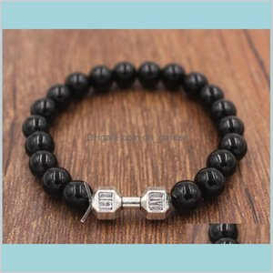 Bangle Jewelry Good Quality Design Mens 8Mm Lava Stone Beads With Antique Gold Sier Dumbbell Gym Energy Charm Bracelets Ps1936 Drop De