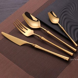 4pcs Set Stainless Steel Tableware Gold Cutlery Set Knife Spoon And Fork Set Dinnerware Korean Food Cutlery Kitchen Accessories FWF10509
