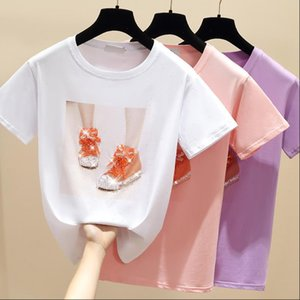 Beading Shoes Womens T Shirts Print Pink Shirt Summer Short Sleeve Women Top White Cotton Korean Style Clothes
