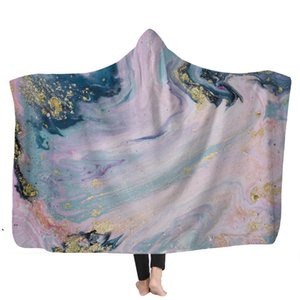 Psychedelic Art Marble Swirl blanket Gouache flowing gold Children Hooded Blanket Soft Warm Sherpa Fleece wearable Blankets for HHD11124