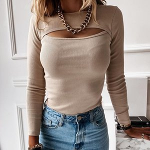 hollow crop Women's ribbed sexy top chest long sleeve t shirt