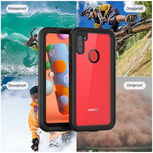 IP68 Waterproof Clear Case for Samsung A11 Outdoor Sports Snowproof Dirtproof Dropproof Hybrid Rugged Armor Transparent Phone Cover with Lanyard Strap Anti-fall