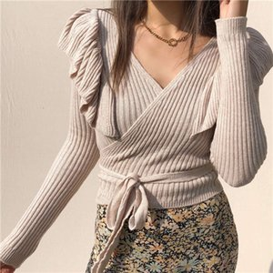Fashion Womens Sweater for Casual Ruffled shoulder collar belt Women High Quality Sweaters Trendy Slim Fit womens clothing