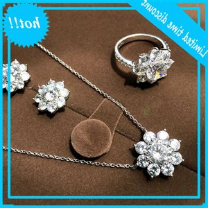 Handmade Flower Lab Diamond Set 925 Sterling Silver Party Wedding rings Earrings Chain for Women Moissanite Jewelry