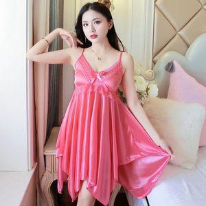 Sexy Summer Lingerie Nightgowns Women Sleepwears Soie Satin Satin Dentelle Sangle Sangle Nuit Robe de nuit Vêtements de nuit Nuit
