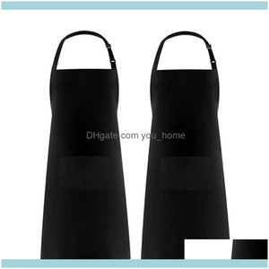 Textiles Home & Garden2Pcs Adjustable Bib Apron Waterproof With 2 Pockets Cooking Kitchen Aprons For Bbq Ding Women Men1 Drop Delivery 2021