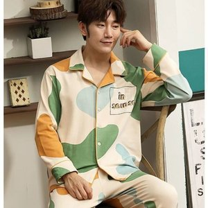 Underwear Sleepwear spring autumn pajamas Men's long sleeve trousers cardigan young and middle-aged home clothes enlarged suit forYB3J