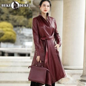 Womens Fashion Genuine Leather Long Jackets Office Lady Slim Single Button Sashes Pockets Turn-Down Collar Sheepskin Coat Women's & Faux
