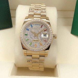 Ladies Automatic Watch 36mm diamond bezel Sapphire face Rainbow square diamond ding stainless steel discount waterproof