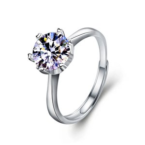 VVS1 D Color 1 2  3 Carats Diamond Simple Ring for Women Real 925 Sterling Silver Charm Fine Wedding Jewelry