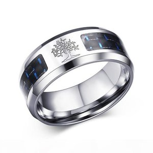 8mm Carbon Fiber Ring For Man Engraved Tree Of Life Stainless Steel Male Alliance Casual Customize Jewelry Personalize Band