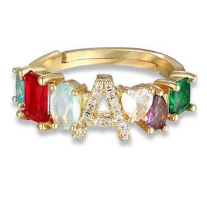 Ajuste ajustable A-Z Anillo inicial Bohemio Copper Zircon Rainbow Letra de arco iris para mujeres Girls Fiesta Boda Joyería Regalo