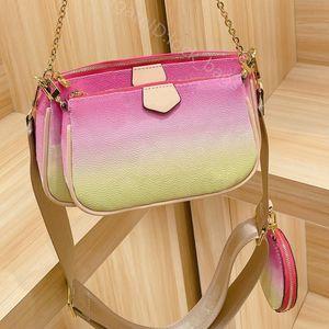 2021 summer classic gradient color Women bag three in one lady fashion handbag ladies handbags cross body wallet shoulder bags purse
