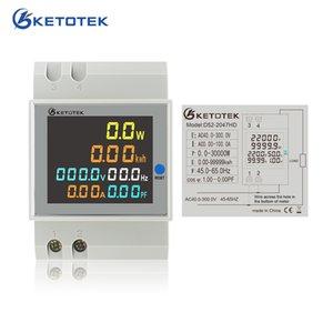Ketotek Din Rail AC Voltmeter Ammeter Active Power Factor Energy Meter Voltage Volt Current Full View LCD Display