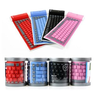 Wireless Mini Bluetooth Keyboard Foldable Roll Up Silent Keypads Soft Silicone Flexible For Smart Phone Tablet Computer