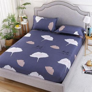 Sheets & Sets Leaf Single Double Fitted Sheet Twin Full Queen King Mattress Cover Four Corners With Elastic Bedroom Bed Bedding 1.5m