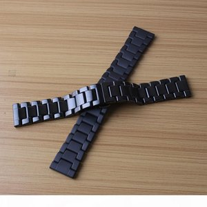 Black polished and matte watchband ceramic Watches Men Women Accessories fashion bracelet with butterfly buckle 20mm 22mm fit Smart watches
