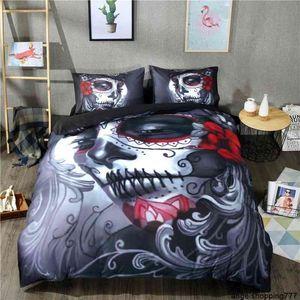 Fashion 3d Beauty Skull Digital Printing 100% Polyester Duvet Sets 1 Quilt Cover + 1 2 Pillowcases US EU Size