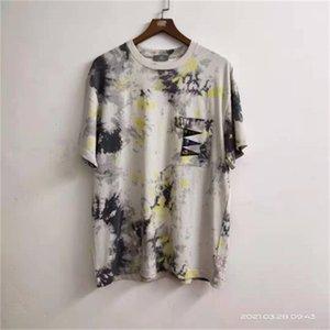short Japanese Hirata Kapital sleeve man tie dyed T-shirt pocket patch loose crew neck short sleeve