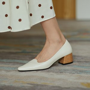 spring cowhide pointed middle thick heel single shoes