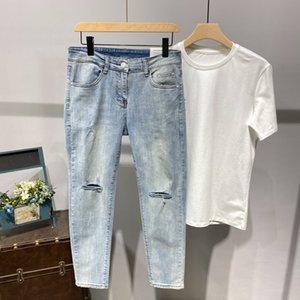 K1p168 Sección delgada Jeans Ripped Male Han Edición Cultivar la moral de la Moralidad Logo Popular PIET PIES PISTA DE MEGUSTAS ADOLESCENTES Nueve
