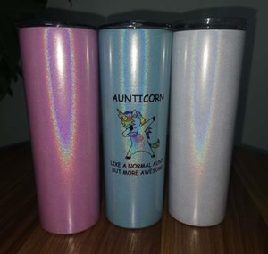 Tumblers Sublimation Blank Glitter Skinny 20Oz Stainless Steel Sparkly Water Tumbler With Splashproof Lid St Shiny Travel Cup Gjhwe O6Fgs