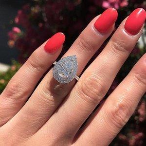 Размер 6-10 Потрясающие Роскошные Ювелирные Изделия Серебряный Падение Вода Белый Топаз CZ Diamond Gemstones Party Женщины Свадьба Свадебный Кольцо Подарок