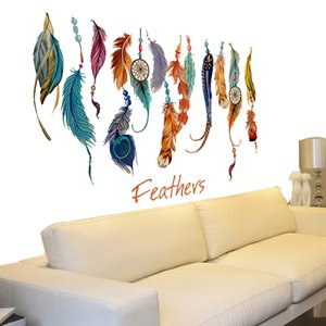 Home Room Decoration Wall Sticker Art DIY Fantastic 3D Flying Feathers Wall Stickers Creative Sticker