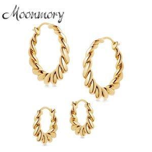 925 Sterling Silver Popular Design Huggie Hoop Earrings Gold Graduated Tidal Hoops Earring For European Women Jewelry 210412