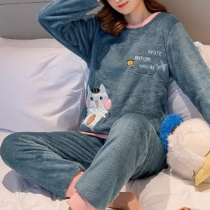 New Thick Coral Fleece Women Pajamas 2 Pieces Set Cartoon Print Warm Winter Girls Pajamas Set Lingerie Sleepwear Home Clothes