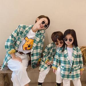 Clothes 2021 Family Spring Autumn New Mom and Kids Matching Jackets Casual Fashion Plaid Blazer for Mother Daughter Son