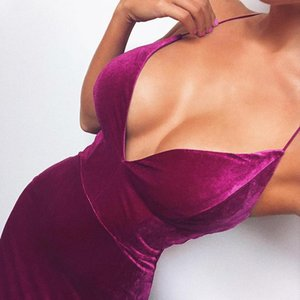 Sexy Dress Velvet Spaghetti Strap Bodycon Wrap High Waist Tunic Bandage Purple Blue Summer Party Club Midi Women Casual Dresses