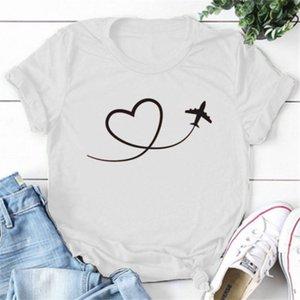 Women's T-Shirt Airplane Heart T Shirt Flight Attendant Pilot Plane Lover Gift I Planes Tshirt Traveler Trip