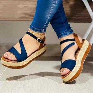 PU de alta calidad para mujer Hebilla de color sólido Punta abierta Plataforma de tacón plana Sin resbalones Cómodo Moda Casual Sandalias Dress Shoes