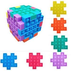 Строительные блоки против стресса Головоломка FIDGET Игрушка Push Bubble Sensosory Силиконовые Дети Rubik's Cube Squeezy Squeeze Desk Toys