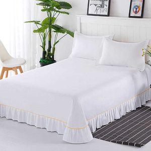 Pure cotton one pillow case, two sheet, three piece white sheet