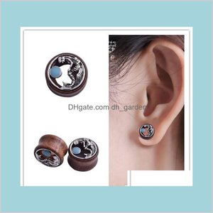 Drop Delivery 2021 Antique Siery Mermaid Piercing Tunnels Plugs Gauges Wood Ear Expander 316L Medical Steel Body Jewelry 6Qusw
