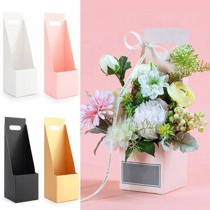 1pc Portable Flower Box Waterproof Paper Handy Gift Bag Kraft Handbag Birthday Wedding Rose Party Boxes Packaging Bags Wrap
