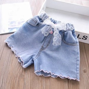 Shorts Children Summer Girls Kids Clothing Denim Fashion Baby Pants Soft Jeans Lace Belts 2-6Y B4786