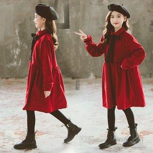 Big kids christmas party dresses girls Bows tie lapel long sleeve pleated dress children velvet warm princess clothing Q2768