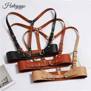 HatCyggo Fashion Women Punk Harajuku O-Ring Garters Faux Couro Couro Bondagem Caage Sculpting Harness Washband Corre Suspenders 210407