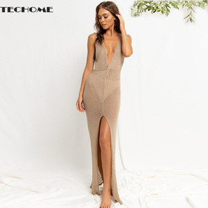 Camisoles & Tanks 2021 Summer Sleeveless Long Dresses Women's Deep V Sexy Open Back Beach Dress Cross Slit Backless Slim