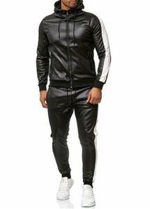 Мужские панели PU кожаные трексуиты мода Trend Trend с длинным рукавом молния с капюшоном PU брюки наборы дизайнерский мужской карман тонкий повседневная спортивная одежда