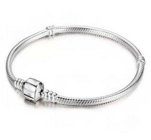 Sterling 3mm Fabrik Silber Armbänder Großhandel Schlange 925 Kette Fit Pandora Charme Perle Bangle Armband Schmuck Geschenk für DR9L