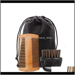 Sets Kits & Styling Tools Hair Products Drop Delivery 2021 Mens Grooming Double Sided Louse Wooden Beard Comb And Boar Bristle Care Brush Bar