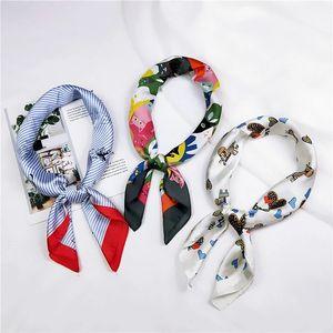 2021 New Summer Silk Scarf Lady Hair Square Scarfs Fashion Women Luxury Brand Designer Print Headkerchief Shawl Wraps