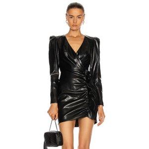 Ocstrade Bodycon Vestido Spring Sexy V Cuello Negro PU Lluvias Mujeres Lone Sleeve Night Club Party ES 210527